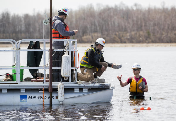 Testing on the St. Louis River near Lake Superior, part of a project to clean up pollution from a steel mill.