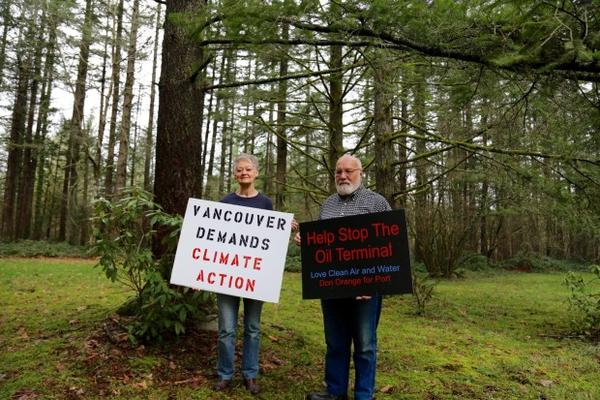 <p>East Vancouver residents Alona and Don Steinke have been protesting the Vancouver Energy oil terminal since 2013.</p>