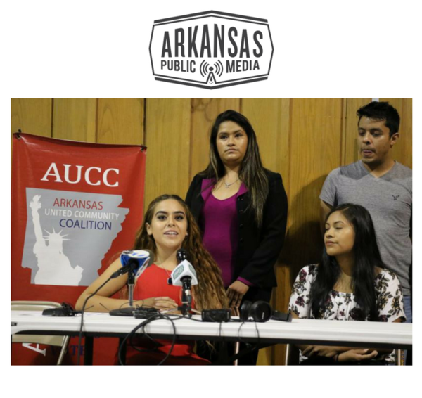 Advocates speak at a September press conference after the Trump Admininistration announced an end to Deferred Action for Childhood Arrivals (DACA). Maria Meneses (center) is a DACA recipient and an organizer for the Arkansas United Community Coalition.