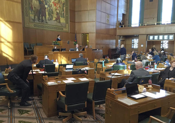 <p>Oregon Representatives debate on the House floor at the Capitol in Salem, Ore., Tuesday, Feb. 13, 2018.</p>
