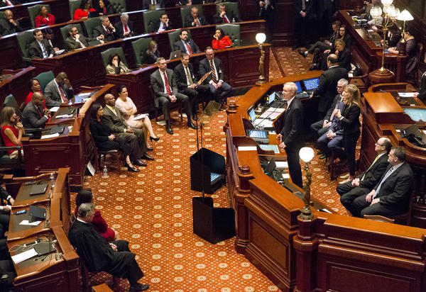 Gov. Bruce Rauner delivers his annual budget message to the General Assembly on Wednesday, Feb. 14, 2018.