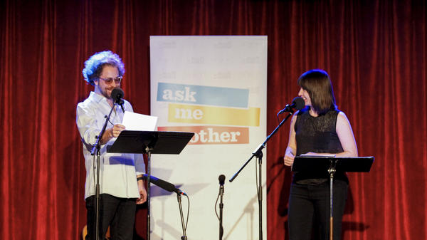 House musician Jonathan Coulton is put to the test by Ophira Eisenberg on Ask Me Another at the Bell House in Brooklyn, New York.
