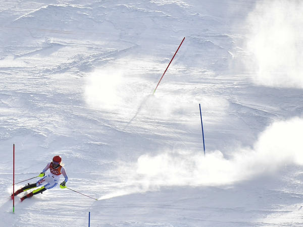 Mikaela Shiffrin was in fourth place after her first run in the women's slalom at Yongpyong Alpine Center during the Pyeongchang Winter Olympics.