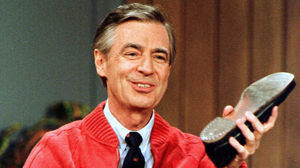 Fred Rogers rehearses the opening of his PBS show <em>Mister Rogers' Neighborhood,</em> which premiered Feb. 19, 1968.