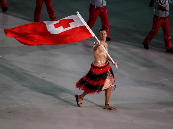 Taufatofua leads his country's delegation during the Feb. 9 opening ceremony of the Pyeongchang 2018 Winter Olympic Games.
