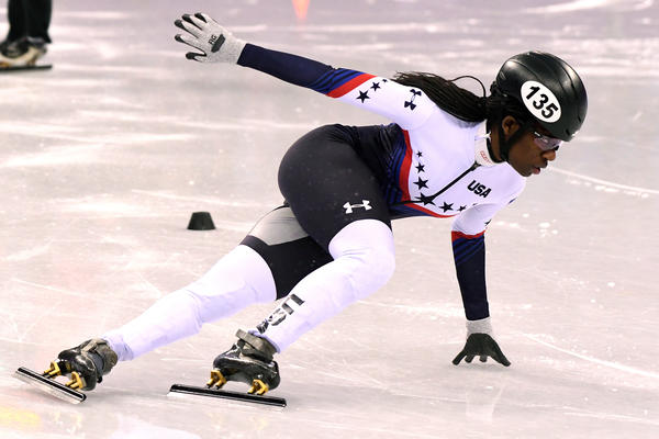 U.S. speedskater Maame Biney, 18, competes in the 500-meter quarterfinal on Tuesday.