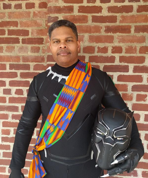 Superfan Victor Lawe is an avid comic book collector and recently appeared at Balitmore ComicCon dressed in his black panther suit.