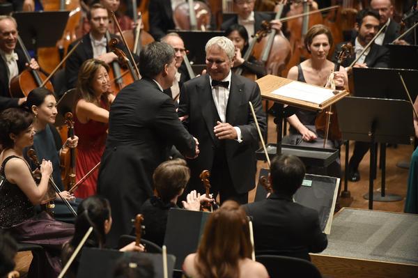 John Corigliano and music director Alan Gilbert at the New York Philharmonic's Opening Gala in September 2016.
