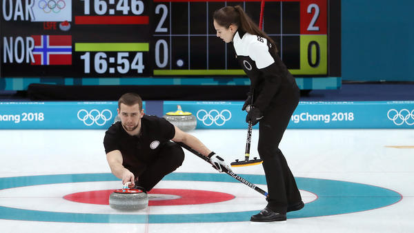 Aleksandr Krushelnitckii of the Olympic Athletes from Russia team is now the subject of an official anti-doping investigation, the Court of Arbitration for Sport said on Monday. He's seen here delivering a stone against Norway in the curling mixed doubles bronze medal game at the PyeongChang 2018 Winter Olympic Games — a match the team from Russia won.