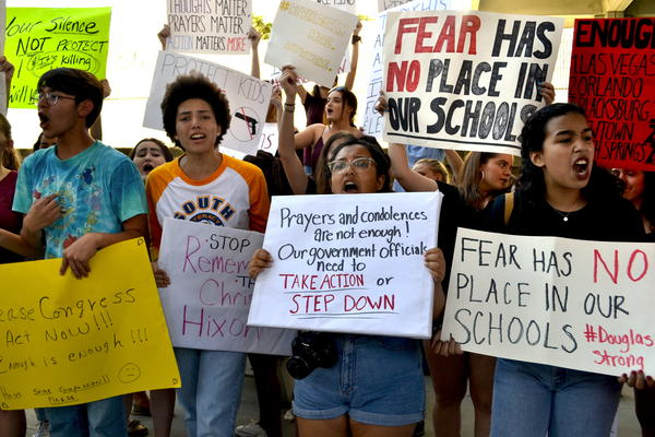 """Local high school students wave signs and chant, """"You are responsible,"""" """"we are not responsible"""" and """"enough is enough"""" at a rally on Saturday in Fort Lauderdale."""