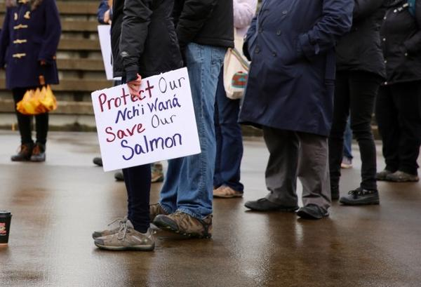 <p>A protestor holds a sign at a rally at the Vancouver Landing Amphitheater along the Columbia River on Nov. 11, 2017 demanding accountability for pollution in the river.</p>