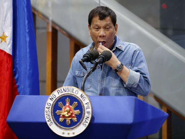 Philippine President Rodrigo Duterte discouraged condom use while addressing Filipino workers returning home from Kuwait on Feb. 13 near Manila.