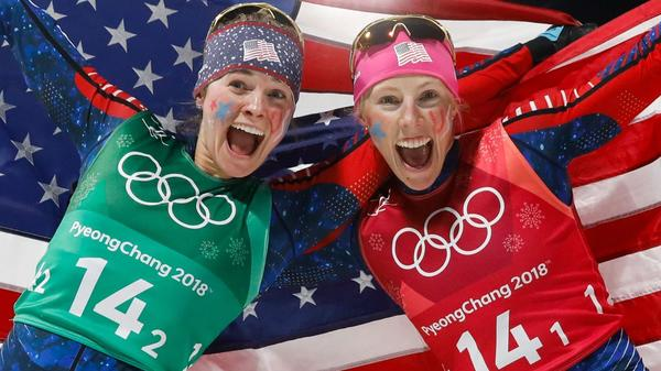 Jessica Diggins (left) and Kikkan Randall celebrate winning their gold medal in the women's cross-country team sprint free final at the Pyeongchang 2018 Winter Olympics. Randall, 35, is retiring from Olympic sports after the games.