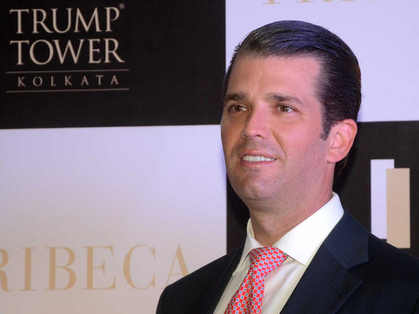 """Donald Trump Jr. at a photo session after visiting Trump Tower Kolkata, a Trump Organization apartment building in India. Its website says it is """"synonymous with celebrated luxury."""""""