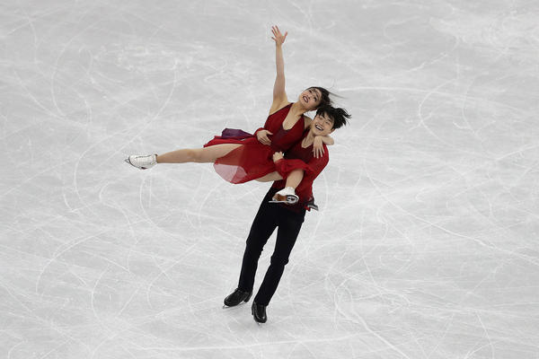 Siblings Maia and Alex Shibutani of the United States compete in figure skating's ice dance free program on Feb. 20. The pair nabbed bronze.