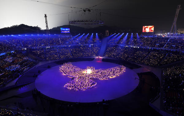 The opening ceremony of the Pyeongchang 2018 Winter Olympic Games included a musical performance surrounded by an image of a dove, matching the program's peace theme.