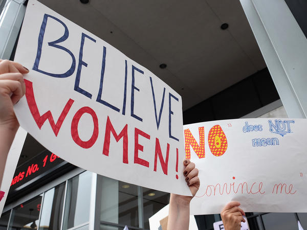 Activists participate in the Take Back The Workplace March and #MeToo Survivors March & Rally on Nov. 12, 2017, in Hollywood, Calif. A new survey offers the first set of nationwide data on prevalence, showing that the problem is pervasive and women are most often the victims.