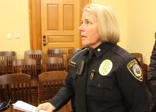 Lenexa Police Major Dawn Layman wearing a body camera while testifying to lawmakers in 2015.