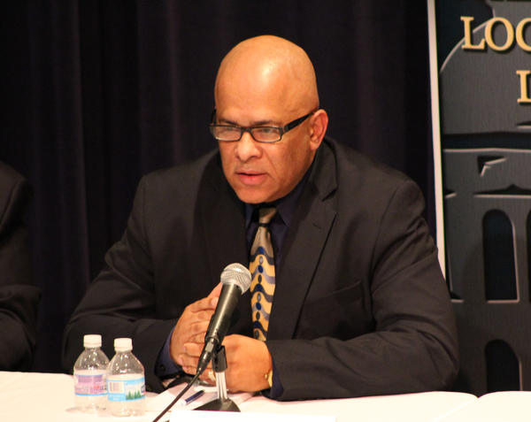 Tio Hardiman at Wednesday's debate at the University of Illinois Springfield.