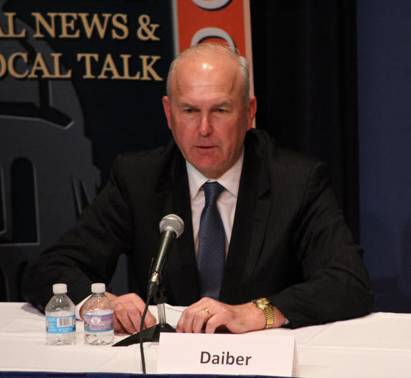 Bob Daiber at Wednesday's debate at the University of Illinois Springfield.