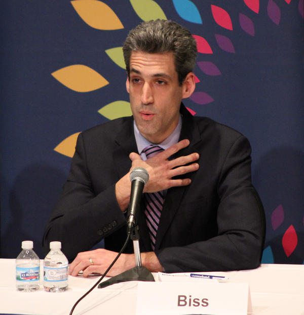 State Sen. Daniel Biss at Wednesday's debate at the University of Illinois Springfield.