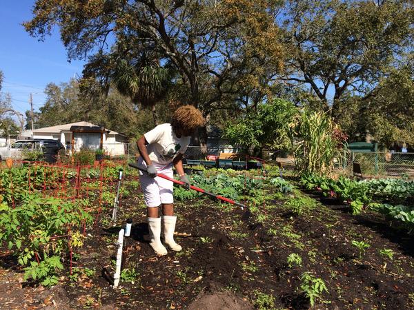 Ava Deveaux volunteers at the Bartlett Park Community Garden.