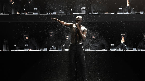 Stormzy performs at The BRIT Awards 2018 at The O2 Arena in London on February 21, 2018.