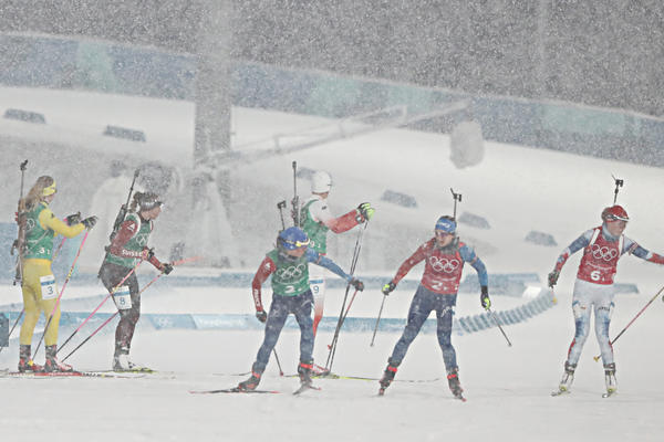 Competitors participate in the official training for the biathlon women's relay on Feb. 21. The athletes from Belarus took gold in the event the next day.