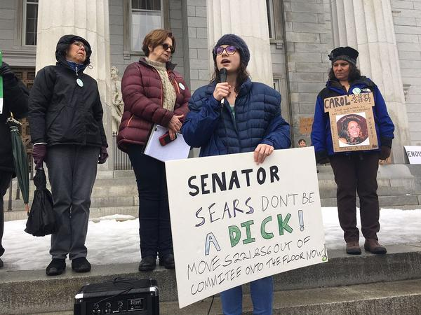 Leah Sagan-Dworsky, 19, of Montpelier, was among the people calling for stricter gun laws at a rally on the steps of the Statehouse Tuesday.