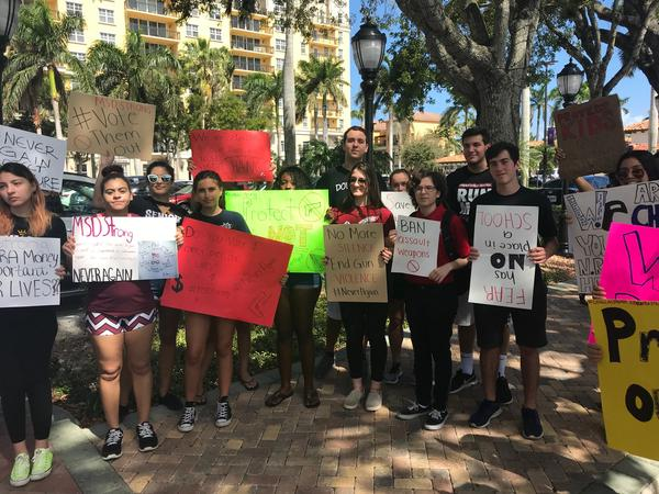 High school students from Broward County organized a protest outside Congressman Mast's event in Boca Raton