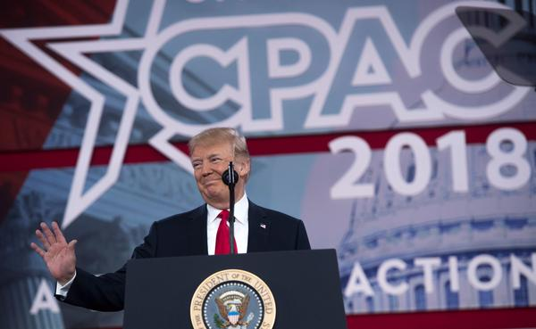 President Trump speaks during the 2018 Conservative Political Action Conference (CPAC) at National Harbor in Oxon Hill, Md., on Friday.