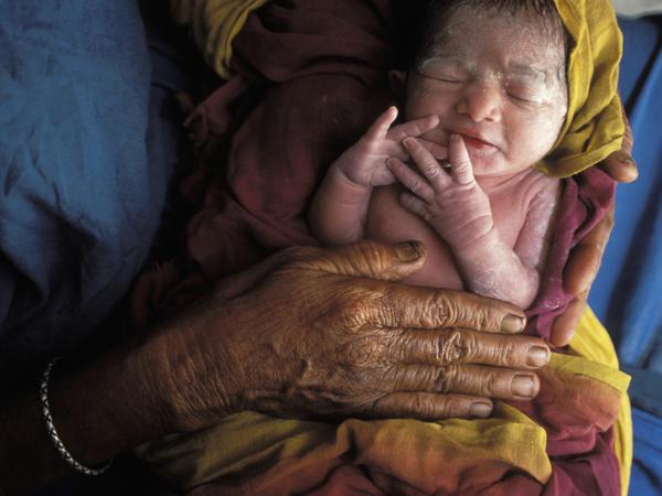 A newborn child in Bangladesh.