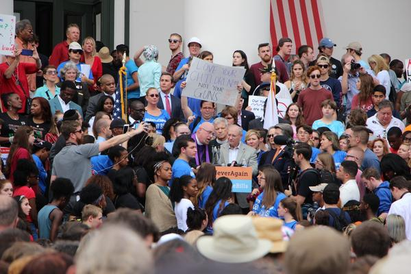 Thousands gather at the Florida capitol (2/21/18) to push for legislative action in the wake of the Marjory Stoneman Douglas High School shooting in Parkland, Fl on Valentine's Day.
