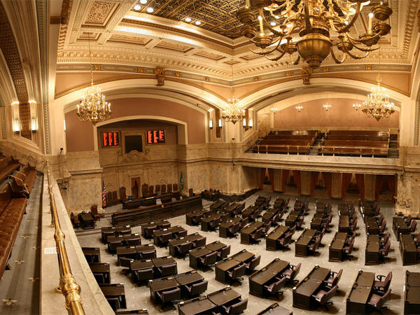 File photo of the Washington House chamber. The state House of Representatives passed a ban on bump stocks on Friday.