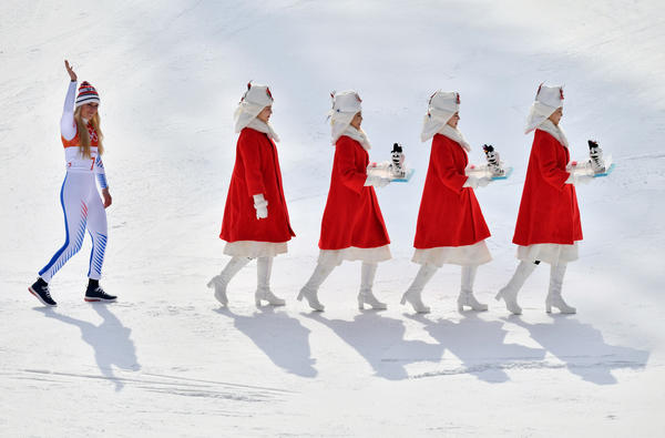 U.S. skier Lindsey Vonn, who won bronze, follows guides for the victory ceremony of the women's downhill on Feb. 21.