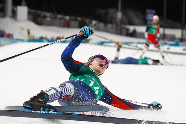 U.S. cross-country skier Jessica Diggins crosses the finish line to win team gold in the women's cross-country team sprint free final on Feb. 21.