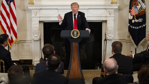 President Trump speaks during a meeting with the members of the National Governors Association at the White House on Monday.