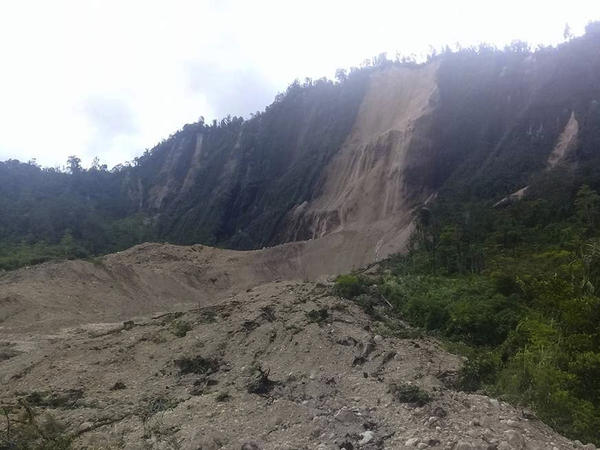 Debris from a massive landslide from Monday's earthquake covers an area in Tabubil township, Papua New Guinea, on Monday following a 7.5 magnitude earthquake early Monday.