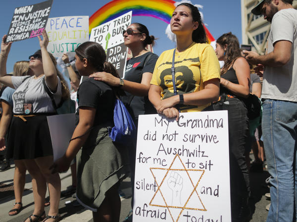 Rose Fried, granddaughter of a Holocaust survivor, attends a demonstration in August in Berkeley, Calif. That state had 268 reported anti-Semitic incidents in 2017, the second-highest number in the U.S. after New York's 380.