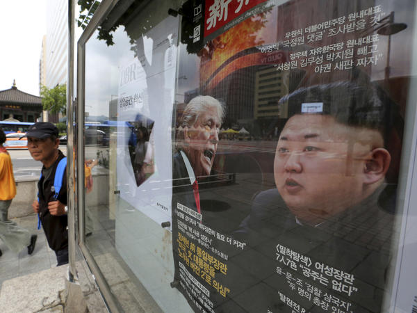 "A South Korean news magazine with front cover photos of President Trump and North Korean leader Kim Jong Un and a headline ""Korean Peninsula Crisis"" is displayed at the Dong-A Ilbo building in Seoul, South Korea, in September."