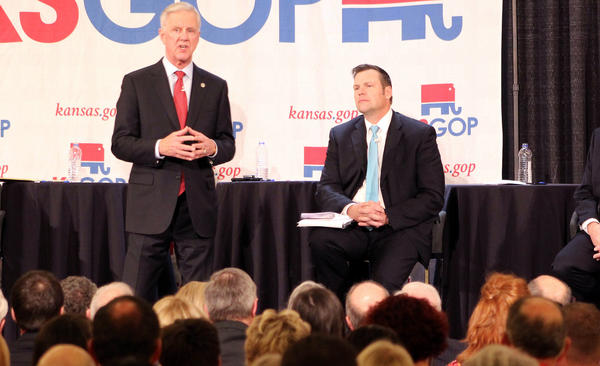 Wink Hartman, left, who pulled out of the Republican governor's race and is now backing Kris Kobach, is offering his Wichita-area arena to the NRA for its annual convention. The place is probably too small.