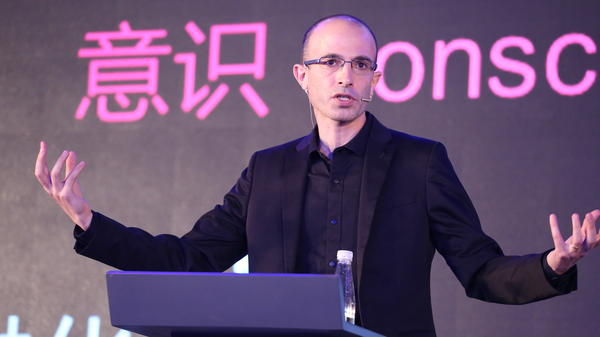 Israeli historian and writer Yuval Noah Harari lectures on artificial intelligence during the X World Future Evolution on July 6, 2017, in Beijing, China.