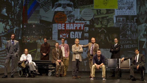 The Broadway cast of Larry Kramer's <em>The Normal Heart, </em>from left: Lee Pace, Ellen Barkin, Wayne Alan Wilcox, Patrick Breen, Jim Parsons, Joe Mantello, John Benjamin Hickey, Luke Macfarlane, Richard Topol and Mark Harelik.