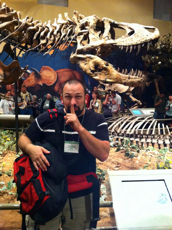 Carl Mehling, curator at the American Museum of Natural History in New York, just before exchanging the forgotten rib bone from the first <em>T. rex</em>. He's standing in front of the dinosaur's skeleton, which is now on display at the Carnegie Museum of Natural History in Pittsburgh.