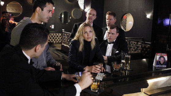 Standing: Joe Nieves as Det. Eddie Gautier, Brian F. O'Byrne as Det. Reg Duffy, Aidan Quinn as Lieutenant Kevin Sweeney. Seated: Kirk Acevedo as Det. Luisito Calderon, Maria Bello as Det. Jane Timoney, Tim Griffin as Det. Augie Blando.
