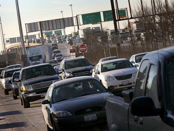 <p>Motorists in Chicago navigate the morning rush hour as they make their way toward downtown.</p>
