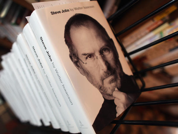 <p>A stack of copies of the newly released biography of Apple co-founder and former CEO Steve Jobs at the Books & Books store in Coral Gables, Fla.</p>