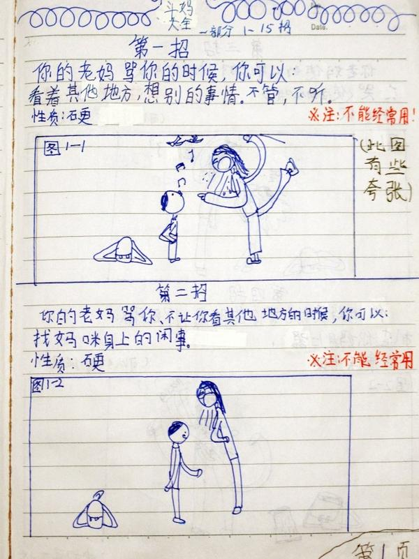 This is the drawing on the first page of <em>The Complete Book of Combat With Mum</em>, which Chen Leshui's dad posted online.