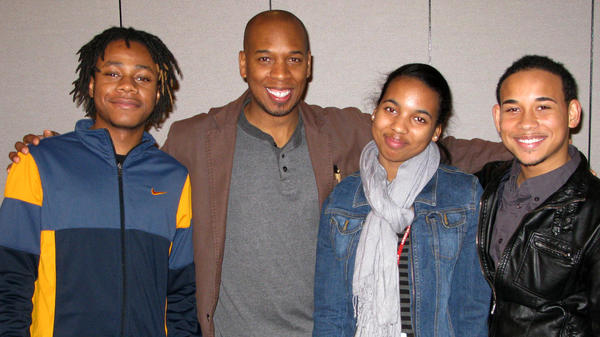 Branndin Laramore (from left), Brian Weddington, Lia Miller and Ernesto Moreta pose after a recent rehearsal for the Chicago finals of the August Wilson Monologue Competition.