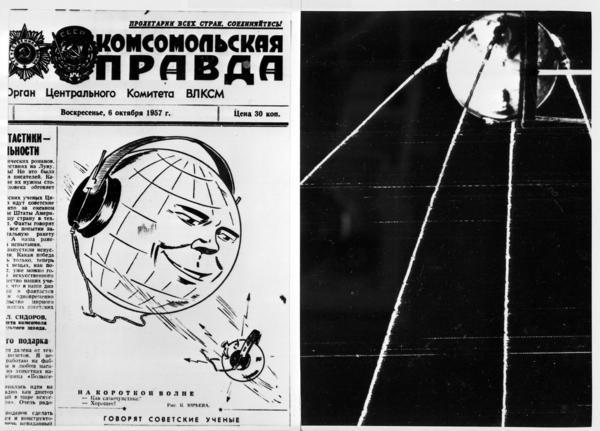 (Left) The front page of the Soviet newspaper <em>Pravda</em> after the launch of the world's first satellite, Sputnik, on Oct. 4, 1957. (Right) A view of Sputnik.